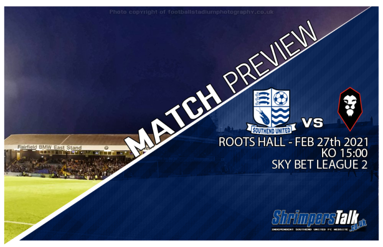 Southend Are Back In Action At Roots Hall This Saturday With The Visit Of Salford City
